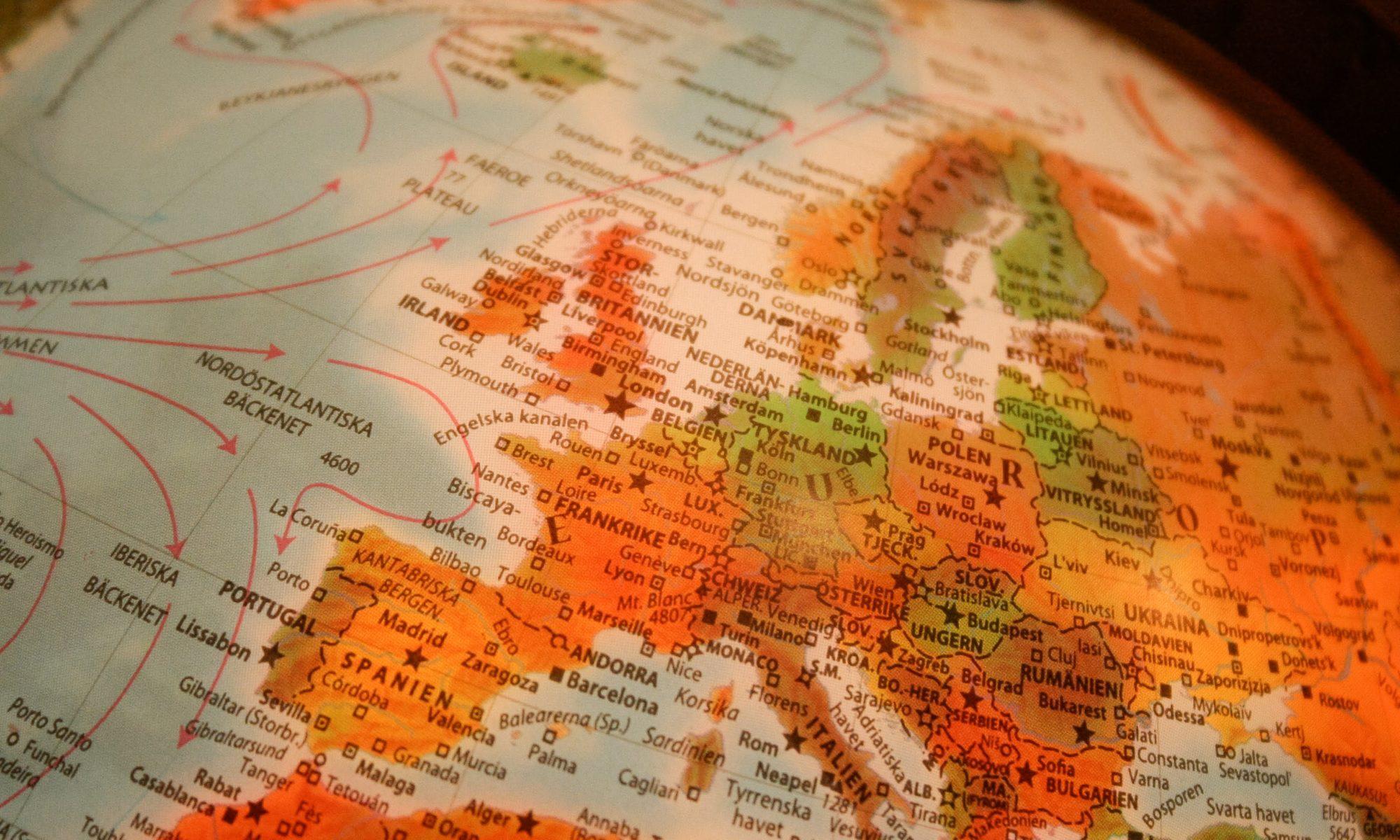 Globus zeigt Europa